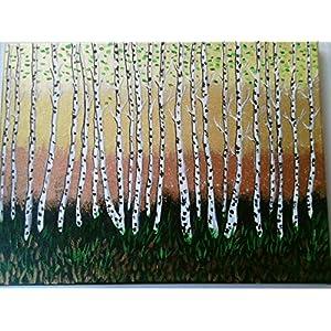 """""""Birkenwald"""",abstrakt,Acryl auf Leinwand*handgemalt*,Original,30x40cm"""