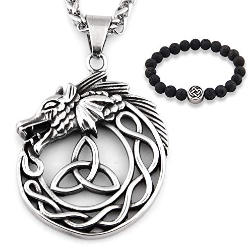 GUNGNEER Stainless Steel Celtic Knot Triquetra Necklace Protection Dragon Amulet Infinity Trinity Love Charm Jewelry