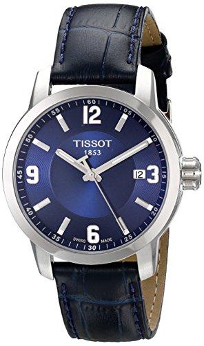 Tissot PRC 200 Herren-Armbanduhr, Quarz, blaues Zifferblatt, blaues Leder, Sportuhr T0554101604700