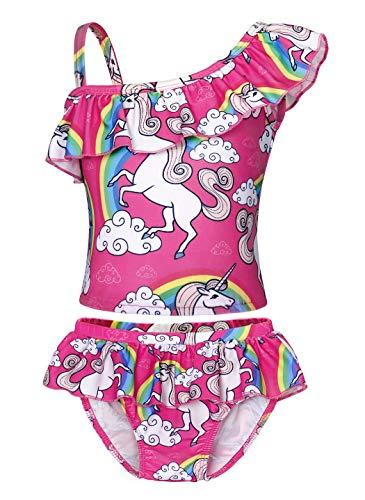 WonderBabe - Costume da bagno da bambina, senza maniche, colorato, costume da bagno per bambini, piscina e spiaggia Rose-055 2-3 Anni