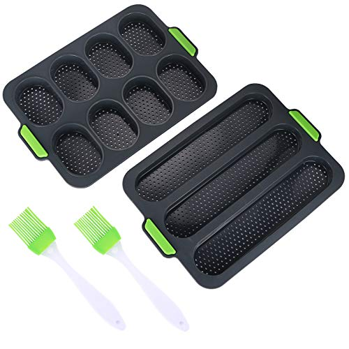 2 pz Silicone Stampo Baguette,1pz Mini Baguette Teglia et 1pz Teglia per baguette, Stampo per Pane Antiaderente in Silicone Teglia per il pane Teglia da Forno per Pane con 2 Pennello