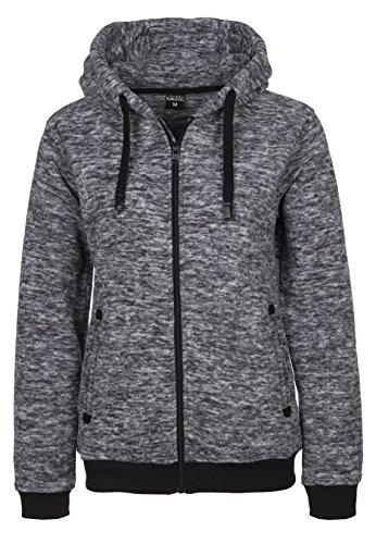 SUBLEVEL Damen Fleecejacke Melange | Sportlicher Fleece-Hoodie mit Reißverschluss leicht meliert middle-grey XS
