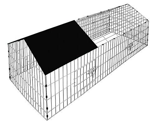 Deuba Jaula para Conejos hámster Animales pequeños Negro protección contra el Sol Cercado Corral Desmontable 80x75x75cm