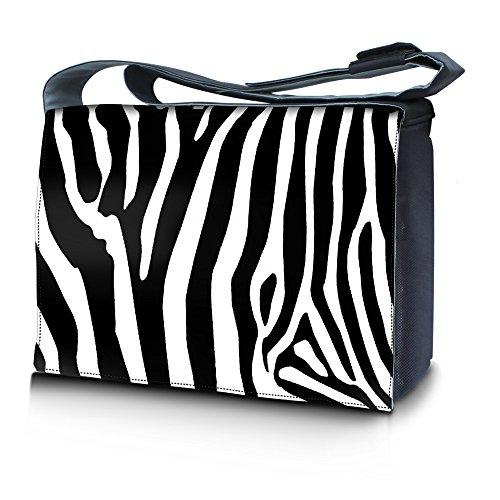 Luxburg Design borsa tracolla messenger per portatile Notebook 15,6 pollici, motivo: Zebrato