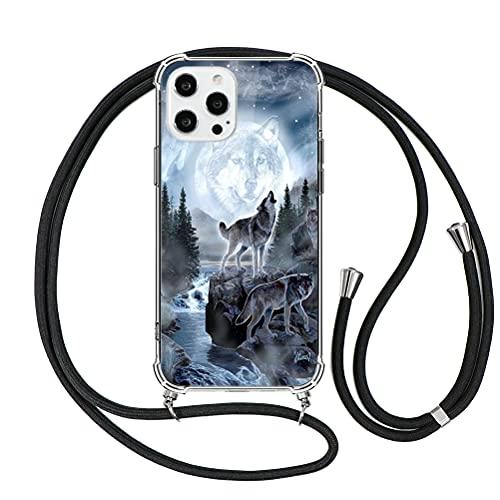 Eouine Capa transversal para iPhone 5/5s [4 polegadas] Capa para iPhone 5/5s pintada com alça de cordão de pescoço preta [traseira rígida] Capa para colar ajustável de TPU de silicone transparente antiarranhões