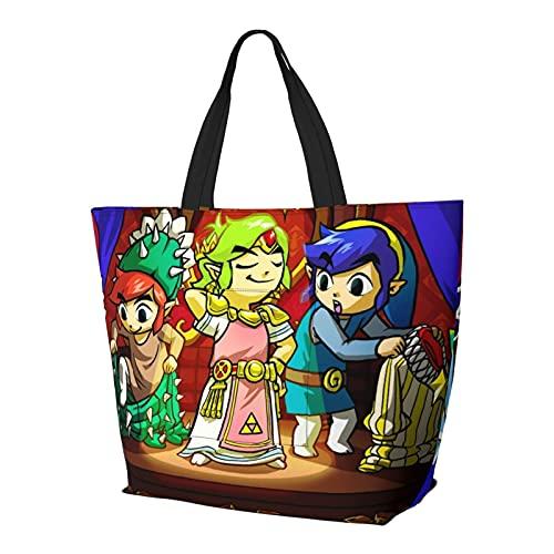 Legend Zelda Multifuncional plegable y reutilizable de gran capacidad con cremallera para mujer, bolsa de hombro, bolsa de compras, bolsa de viaje, bolsa de ordenador
