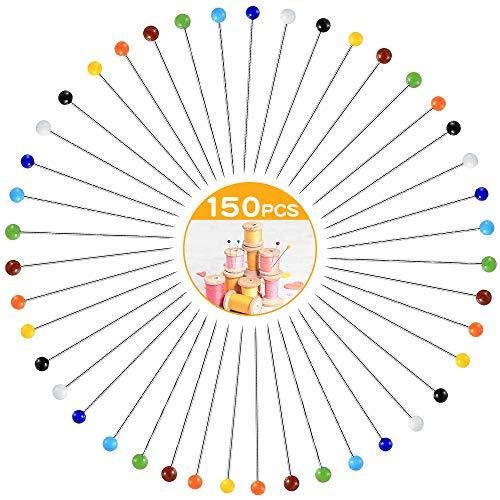 MCSQK Stecknadeln mit Kopf 250 Stück, Glaskopfnadeln Buntkopf Stecknadeln Perlenkopfnadeln zum Schneidern, Glaskopfstecknadeln für DIY, Schmuck Herstellung, Nähen und Handwerk Dekoration - 38mm