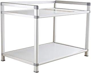 MLQ Space Aluminium Single-Layer Microwave Storage Rack, Instalación Gratuita, para el Almacenamiento de latas de condimentos, macetas, ollas arroceras, Blanco, 57.5 * 37 * 46 cm
