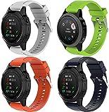 Correa de Reloj de Silicona Suave Compatible con Garmin Fenix 6S Pro/Fenix 6S / Fenix 5S/5S Plus (42MM), Repuesto Ideal (4-Pack G)