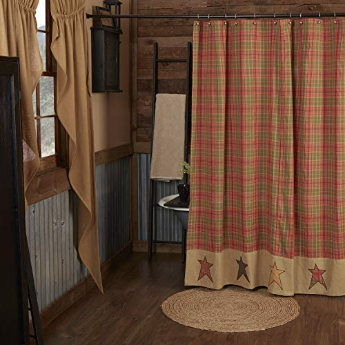 VHC Brands Stratton Shower Curtain 72x72 Primitive Country Design, Green and Red-Orange