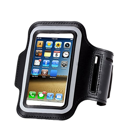 Water Resistant Cell Phone Armband:CaseHQ 5.2 Inch Case for iPhone X,8, 7, 6, 6S, SE, 5, 5C, 5S, and Galaxy S5, Google Pixel - Adjustable Reflective Running Workout Gym Band, Key Holder-Black
