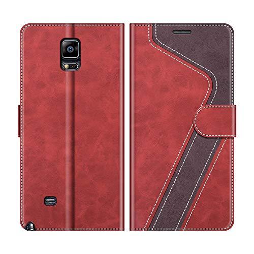 MOBESV Handyhülle für Samsung Galaxy Note 4 Hülle Leder, Samsung Galaxy Note 4 Klapphülle Handytasche Hülle für Samsung Galaxy Note 4 Handy Hüllen, Modisch Rot