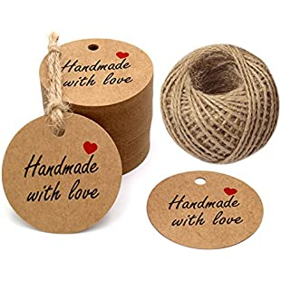 """100 PCS Kraft Gift Tags 5 CM * 5 CM""""Hand Made with Love"""" Label Birthday Luggage Round Tags Paper Wedding Labels Brown Hang Tag with 30 Meters Jute Twine (Brown):Cnsrd"""