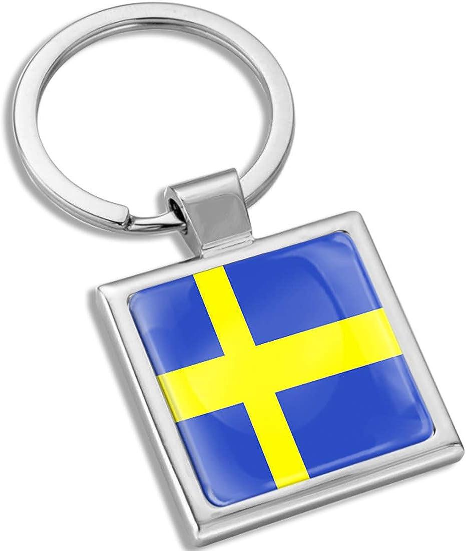 Biomar Labs 3D Metal Keyring Key Chain Gift Men Women Keychain Giftbox Sweden Swedish National Flag KK 288