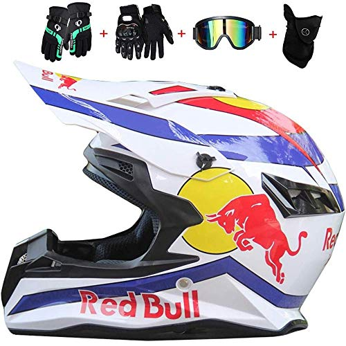 Fullface Helm,Motorradhelm Fahrradhelm ABS DOT-Zertifizierung Mehrere EntlüFtungsöFfnungen Schnellverschluss Herausnehmbares Futter Kostenloses vierteiliges Set Red Bull