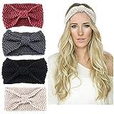 Ealicere 4 Stück Damen Gestrickt Stirnband, Elastisches Haarbänder Bow Wolle Turban Headwrap, Stirnbänder Winter Kopfband