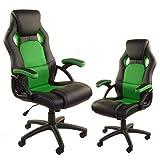 Giosedio Rca Racing Juventud Silla para ordenador , altura ajustable, cuero sintético, malla transpirable. Silla de Escritorio para Gamers. (verde)