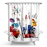 hmwr Musik Wasserdicht Bad Duschvorhang Creative Watercolor Art Musical Instruments Rhythm Drum Set Gitarre Note Badezimmer Dusche Vorhang Standard Größe 177,8x 177,8cm weiß