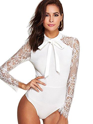 DIDK Damen Body Elegant Langarm Bodysuit mit Spitze Ärmeln Bodys Oberteil Blusebody Damenbody Schmal Bodysuits Tops mit Schleife Weiß L