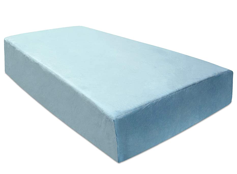 BlueSnail Super Soft Stretchy Fitted Flannel Crib Bed Sheet for Standard Crib and Toddler Mattress (Light Blue)
