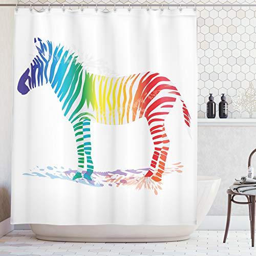 ABAKUHAUS Duschvorhang, Zebra mit Vielen Verschiedene Regenbogen Farben Streifen Bunter Schatten Muster Digital Druck, Blickdicht aus Stoff mit 12 Ringen Waschbar Langhaltig Hochwertig, 175 X 200 cm