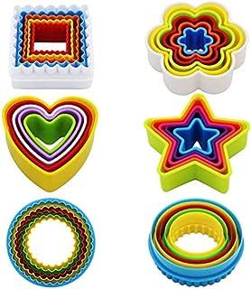 Olywee Lot de 25 emporte-pièces en plastique pour biscuits (étoiles, fleurs, ronds, carrés, cœurs) Sans BPA