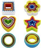 Olywee- Set di 25 formine per biscotti, diversi motivi: a forma di stella, fiore, cuore, quadrate, rotonde, senza bisfenolo A, colorate