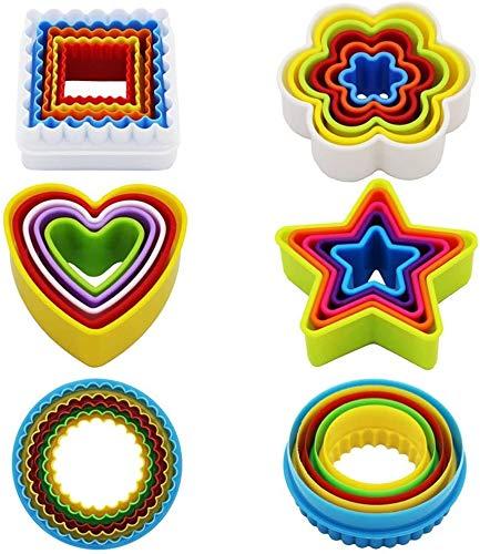 Olywee Lot de 25 emporte-pièces en plastique pour biscuits (étoile fleur, rond, carré, cœur) Sans BPA Coloré