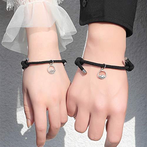 2Pcs Couple Bracelet for Women Love Friendship Rope Braided Distance Bangle Magnetic Bracelets Paired Jewelry Lover Men Bracelet, Wine Red