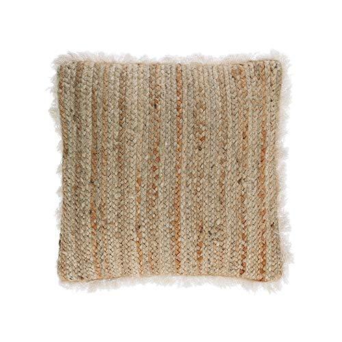 Kave Home - Funda cojín Clidia Yute y algodón Flecos 45 x 45 cm