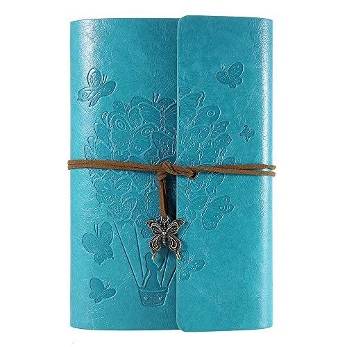 OMEYA Leder Notizbuch, Vintage-Spiralbindung tagebuch, Ringbuch Retro Journal, Nachfüllbar Skizzenbuch, Reisetagebuch Mit Linienpapier, Geschenke für Damen und Mädchen A5 9.3''×6.3'' -Blue