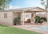 Alpholz Gartenhaus Nyborg-44 aus Massiv-Holz   Gerätehaus mit 44 mm Wandstärke   Garten Holzhaus inklusive Montagematerial   Geräteschuppen Größe: 500 x 776 cm   Satteldach