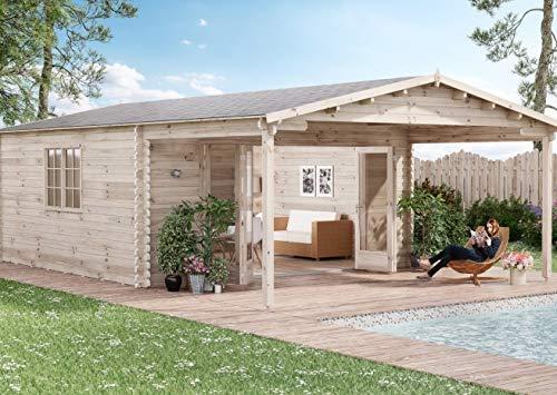 Alpholz Gartenhaus Nyborg-44 aus Massiv-Holz | Gerätehaus mit 44 mm Wandstärke | Garten Holzhaus inklusive Montagematerial | Geräteschuppen Größe: 500 x 776 cm | Satteldach