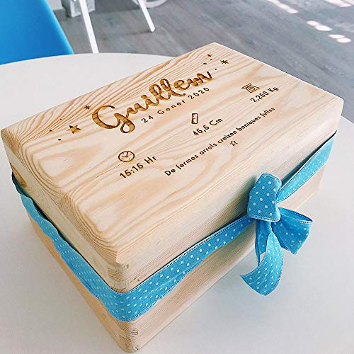 MONAMÍ - Caja Natalicio de Madera Personalizada. Madera de Pino grabada, Medidas 30x20x13 cm. (Azul)
