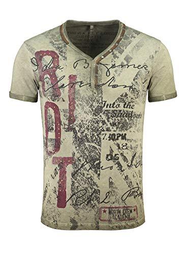 KEY LARGO Herren T-Shirt Riot Button Printshirt Slim Fit Schnitt V-Ausschnitt mit Knöpfen Knopfleiste MT00300, Grösse:L, Farbe:Military-Green
