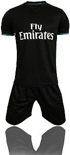 HBSC Camiseta Copa Mundial 17-18 Temporada Real Madrid Traje de fútbol Local Real Madrid Traje de Manga Corta C Ronaldo Secado rápido Black- S