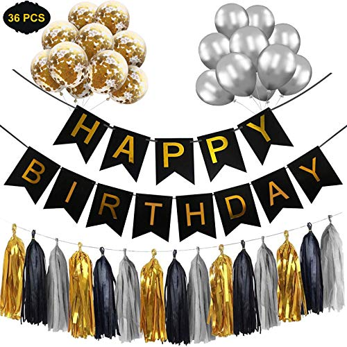 Happy Birthday Banner Set, Happy Birthday Banners Bunting with Silver Latex Balloons/Gold Confetti Balloons/Tassel Garland Trim, Black and Gold Birthday Party Decorations for Men Women Girls Boys