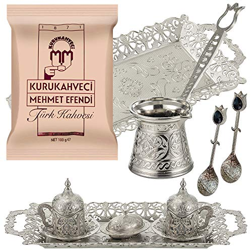 Turkish Coffee for Serving Set - 14 Pieces - Turkish Coffee - Porcelain Cups with Large Tray Saucers Pot Sugar Bowl - 2 Spoons Vintage Engraved Embroidered Design - Boxed Best Gift Idea Silver