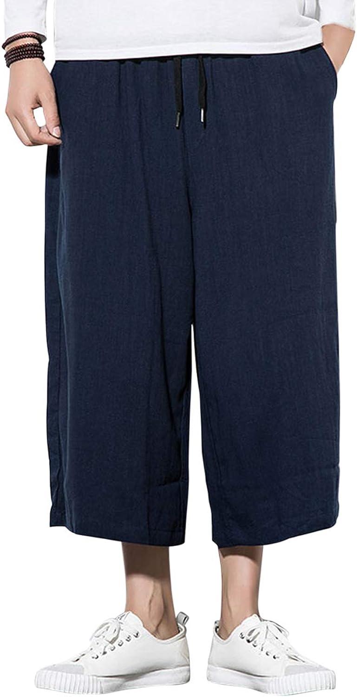Zhhlinyuan Elastic Waist Cropped Pants Men's Men's Men's Straight Leg Casual Harem Trouser 34be59