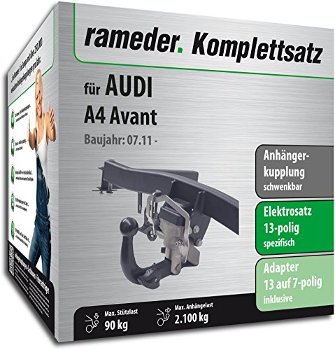 Rameder Juego completo, enganche de remolque orientable + 13 polos eléctricos para Audi A4 Avant (112736-06988-2)