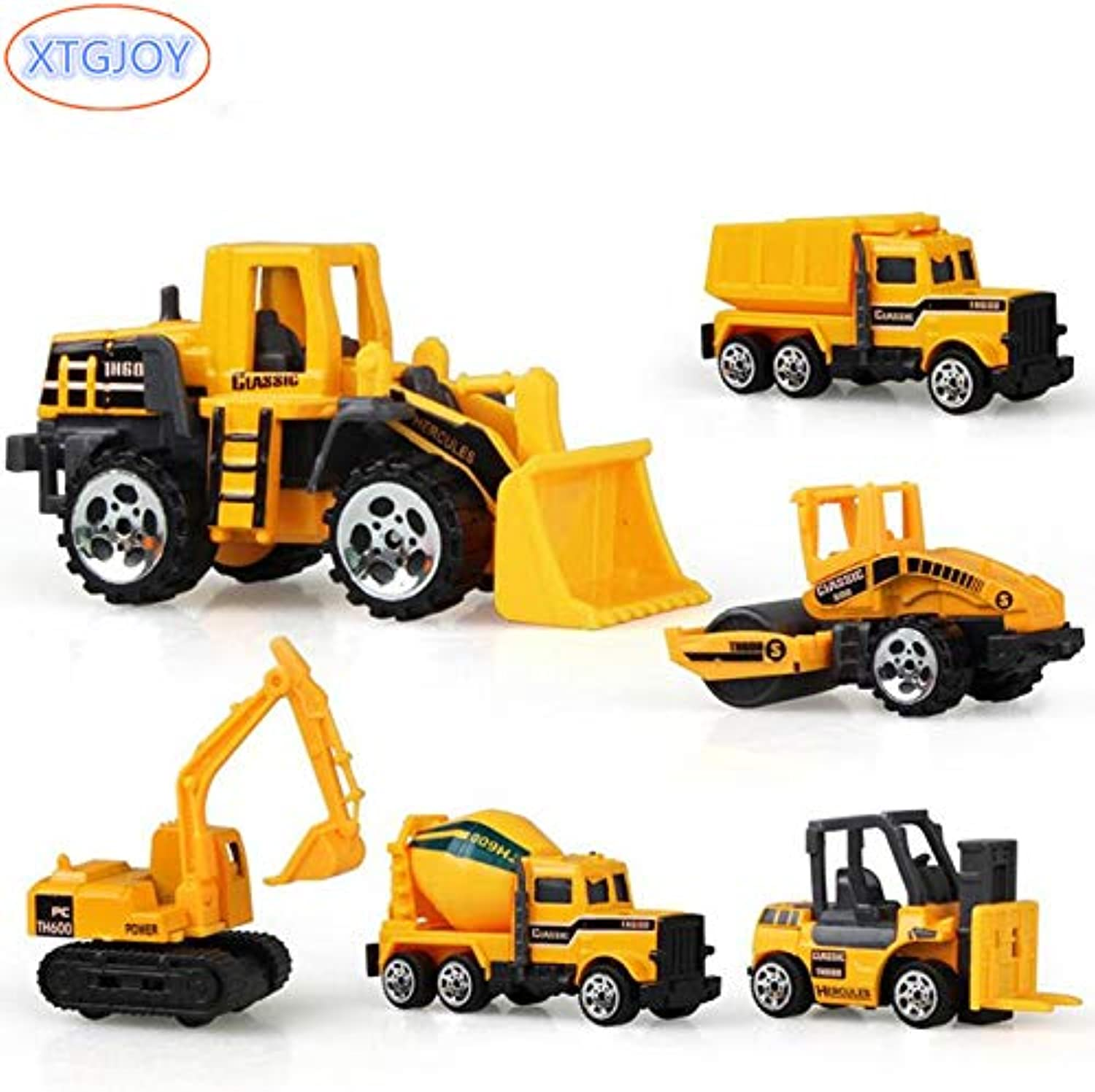 Generic 6 Types Diecast Mini Alloy Construction Vehicle Engineering Car Dumpcar Dump Truck Model Classic Toy Mini Gift for Boy Toys