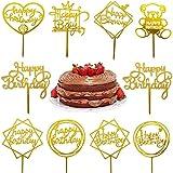 10Pcs Decoraciones Toppers de Tarta Adorno de Pastel Dorado Cupcake Toppers Happy Birthday Suministros Decoración para Tarta de Feliz Cumpleaños, Fiesta, San Valentín, Boda (Estilo B)
