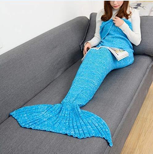 ZHUANYIYI Meerjungfrau Schwanzdecke Häkeln Meerjungfrau Decke Für Erwachsene Super Weiche Alle Jahreszeiten Schlafen Gestrickte Decken (Color : Blau, Größe : 90x50cm Infants)