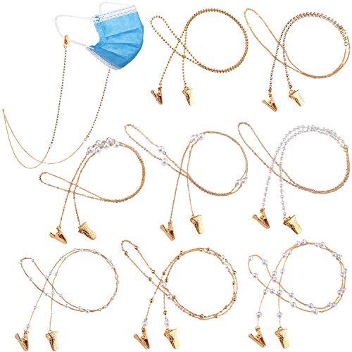 8 Stück Gesicht Abdeckung Halter Halskette Gurt Schick Gold Brillen Ketten Halskette Perlen Brillen Halter für Damen Mädchen Alten Menschen und Kinder