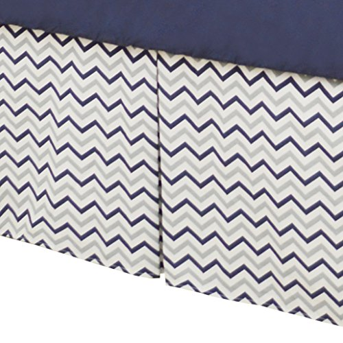 American Baby Company 100% Cotton Tailored Crib Skirt with Pleat, Navy Zigzag, for Boys
