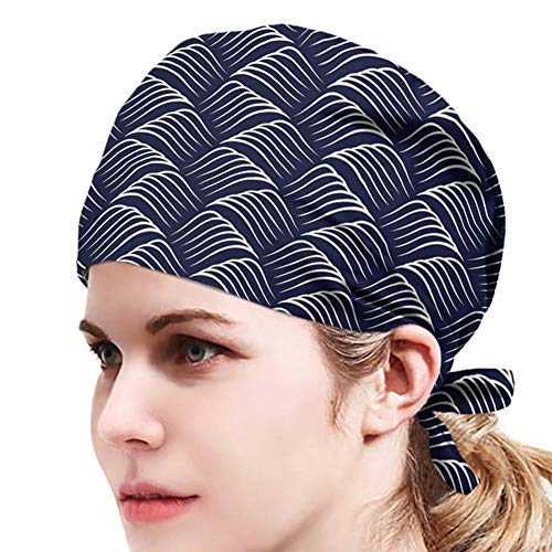 Blaue und weiße Welligkeit,Bedruckte Turban Hut,Unisex Verstellbare Füllig...