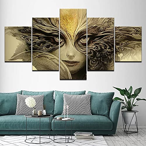 GUANGWEI Impresión En Lienzo Póster HD 5 Combinación De Pintura Colgante Cara De Fantasía De Terror Oscuro Marco De Dibujo Decorativo del Paisaje del Regalo del Arte De La Pared del Hogar