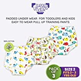 superbottoms SuperUnders- 100% Cotton,Padded, semi- Waterproof, Pull up Underwear/Pants for Diaper Free time and Potty Training-Pack of 3 (Size 3)