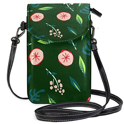 XCNGG Flowers Green Cell Phone Purse Wallet for Women Girl Small Crossbody Purse Bags