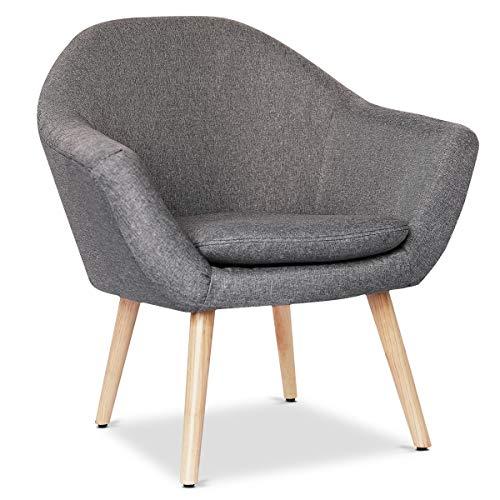Mc Haus NAVIAN - Sillón Nórdico Escandinavo de color Gris Marengo, butaca comedor salón dormitorio, sillón acolchado con Reposabrazaos y patas de madera 47x74x76cm